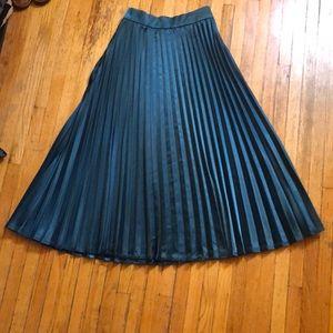 Turquoise Pleated Tea Length Skirt